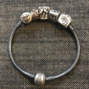 Pandora BLACK bracelet with 5 charms